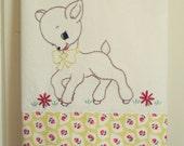 sweet yellow deer flour sack tea towel