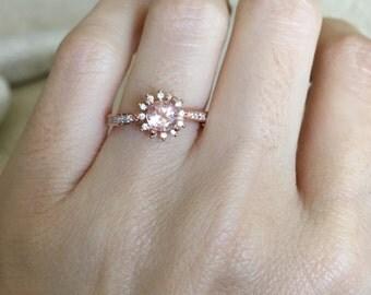 Rose Gold Morganite Ring- Promise Ring- Wedding Ring- Halo Ring- Engagement Ring- Bridal Ring- Rose Gold Ring- Gemstone Ring- Morganite Ring