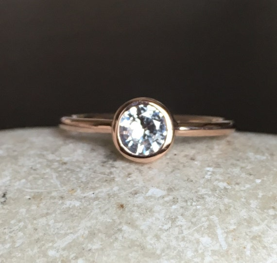 Rose Gold Sapphire Ring White Sapphire Engagement Ring by Belesas