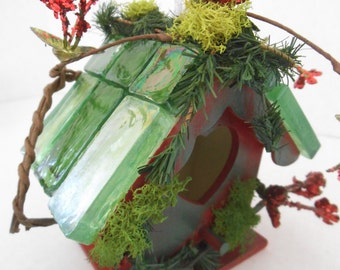 Enchanting .......Red With Green Wisps....  Glass Tile Roof ...Fairy House and Bird House...Great Gift Idea.......OOAK