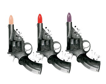 Bang Bang Bang, print from original watercolor and mixed media fashion illustration by Dena Cooper