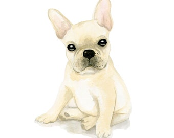 Frenchie, print from original watercolor and mixed media fashion illustration by Dena Cooper