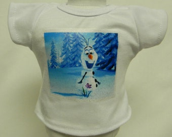 Olaf Frozen Theme Silver Glitter Transfer T-Shirt For 16 or 18 Inch Dolls Like The American Girl Or Bitty Baby