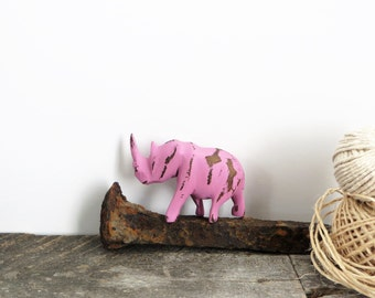 Tiny Rhino - Pink Distressed - Unique Accent Piece - Little Painted Animal