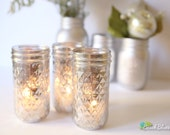 Home Decor Mercury Glass Mason Jars Elegant Decor Candle Holder Silver Centerpiece