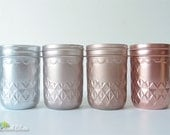 Rustic Home Decor Painted Mason Jar Vase Centerpiece Half Pint Rose Gold Copper