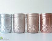 Rustic Home Decor Painted Mason Jar Vase Centerpiece Half Pint Rose Gold Copper