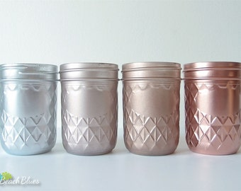 Pink Copper Rose Gold Decor Painted Mason Jars Home Decor