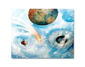 Space Decor for Children, Outer Space Nursery Wall Art, Kids Nursery Decor, Baby Boy Nursery wall Art , Planets Kids Art, Kids room Decor