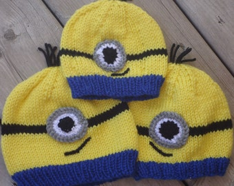 hand knit, minion inspired hat   made to order