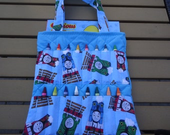 Thomas the Tank and friends colouring bag/tote.   Trains Crayon Bag complete with coloring book and crayons.  Ready to ship
