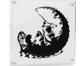 Alice in Wonderland // Tea Party Mad Hatter March Hare - hand cut paper art // fantasy storybook wall artwork silhouette paper illustration