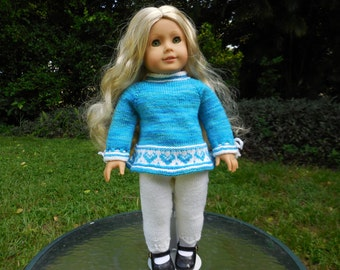 Hand knitted top with leggings made to fit American Girl doll