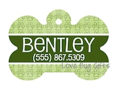 Personalized pet tag - Green Paw Print