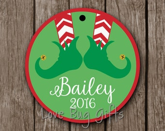 Personalized • Chevron Elf Boots • Christmas Ornament