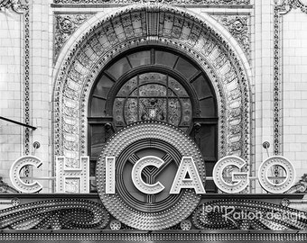 "Chicago Black & White Photography, Chicago Theatre Neon Sign, Theater Marquee 8""x10"" Photograph Print"