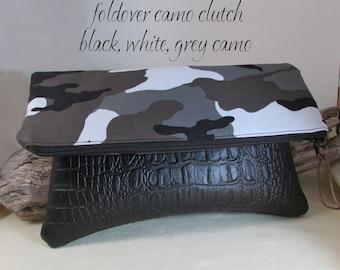 Camo Foldover Clutch Bag - Black White Grey Camo -  Eco Couture Clutch With Leather Like Bottom - 2 Pockets Inside - Camoflauge Handbag