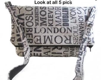 Messenger Handbag - Cities of the World Bag - Paris London New York Beijing Seoul - Purse Bag Foldover Design - Upholstery Grade Messenger