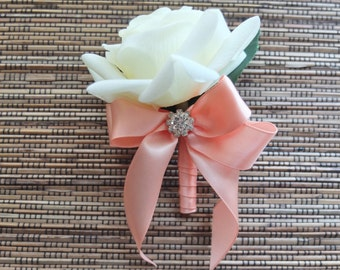 White & Peach Boutonniere, White Rose with Peach Ribbon and rhinestone accent
