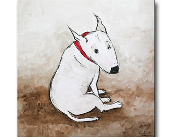 Painting on canvas * abstract * modern * bullterrier * dog * pet
