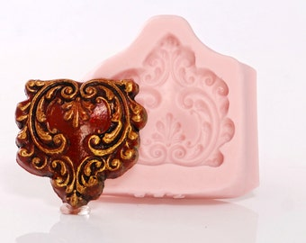 Scroll Work Heart Silicone Mold Flexible Cabochon Mold Food Safe use with Fondant Chocolate Candy Mints Butter or Craft Mold Resin Clay (753