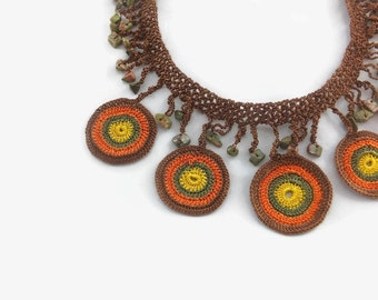 Crochet Necklace Multicolor Circles Crochet Necklace Beaded Necklace Boho Jewelry Gift For Her Summer Fashion Statement Necklace