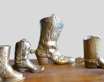 Vintage Brass Cowboy Boot