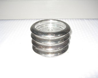 Silver Trim Coaster, Hollywood Regency, Set of Four Glass and Silver Coasters