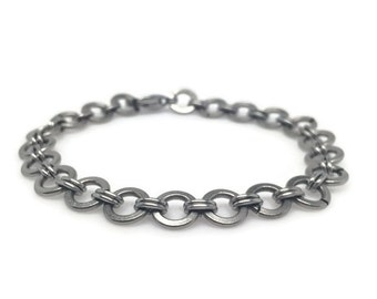 Silver Circle Bracelet, Stainless Steel Jewelry, Simple Chainmaille Bracelet, Non Tarnish, Gifts for Trendy Girl