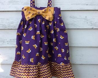 Size 4T, LSU Tigers Dress, Bowtie Dress, Girls' Dress, LSU Football, College Football Dress, Purple and Gold Dress, Tiger Dress