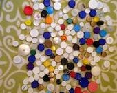 Plastic Bottle Caps, White and multi colored bottle caps, recycled bottle caps