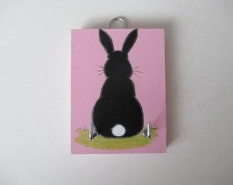 Bunny Rabbit Bobtail Key Rack Holder Hook Wooden Hand Painted Original Art Silhouette Picture Pink