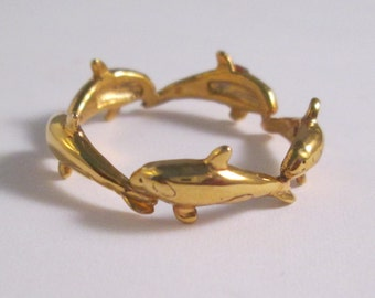 14KT Yellow Gold Orca Whale Band