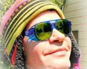 Blue Green Safety Sunglasses Vintage Aviators, Burner Goggles, Cobalt Pilot Glasses, American Optical Flight Shades, Burning Man