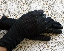 Vintage Black Mid Length Gloves 1960s Dress Glove Stretch Patterned