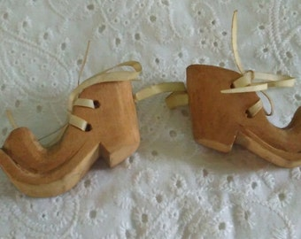 Miniature hand carved wooden clown shoes, folk art, OOAK & unique wood shoes, ornament, rawhide strips for laces, dated 1946, gift for clown