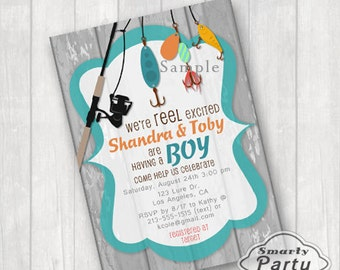 Fishing Baby Shower Invitations Invite We're Reel Excited You Print Printable Personalized Teal Aqua 5x7 or 4x6