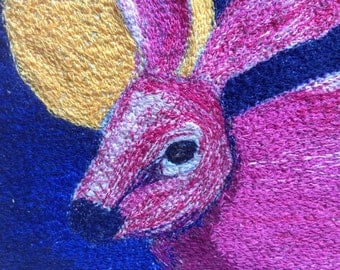 Fibre art hare, free machine embroidery , stitched picture, pink hare, fits 8x8 inch frame