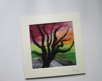 abstract tree at sunset, wet felted art, fiber art, textile art, fits 8 x 8 inch frame.