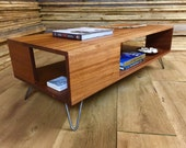 QUICK SHIP-Fat Boy mid century modern coffee table with storage, featuring sapele mahogany & hairpin legs.