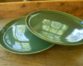 "Russel Wright dinner plates seafoam American Modern Steubenville Pottery set of 2 10"" green plates midcentury modern dinnerware"