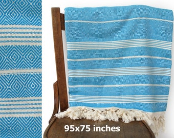 Cotton Bedspread Turkish Throw Cotton Blanket Sofa Cover Throw Handwoven Organic Bed Linen Turquoise White Striped XX LARGE 240 x 190 cm
