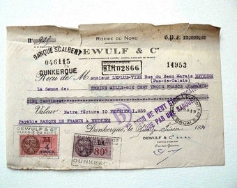Old french receipt 1939