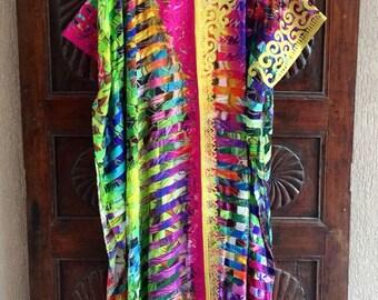 Silk rainbow embroidered kaftan long dress