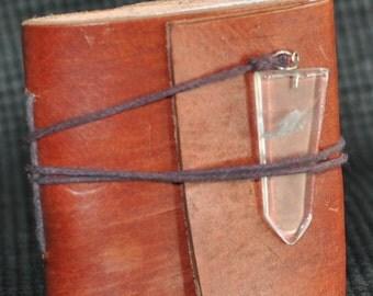 Pocket Leather Journal with Hand made paper and Satyaloka satyamani quartz as a closure   8186