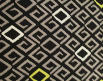 Quilting Weight Cotton Fabric Aziza by Michael Miller in black, white, gray, lime 1 yard