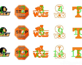"""1"""" Bottle Cap Images-University of Tennessee"""