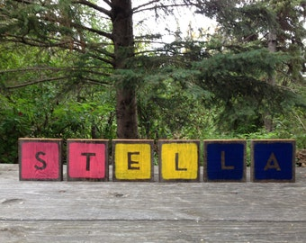 Wooden Wall Letters Painted Wooden Name Letters For Nursery - Wooden Letter Blocks - Baby Name Sign - Wall Art Baby Name - Letters Hanging