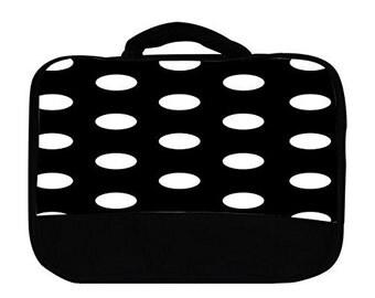 White Polka Dot Polka Dots Black Background Print Canvas Lunch Bag, 00030x7