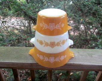 pyrex butterfly gold cinderella 3 bowl set